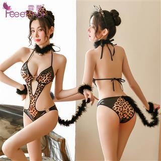 迷情猫女郎连体套装 夜店诱惑豹纹制服紧身激情性感调情睡衣