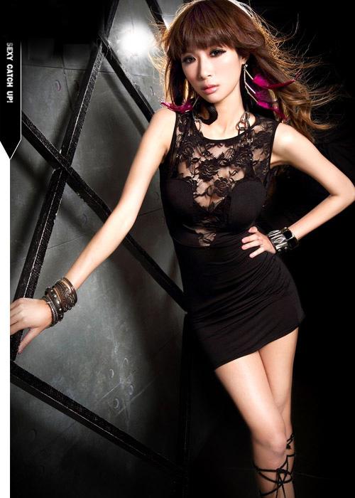 弹力针织奢华秘书镂空性感修身超短包臀裙