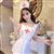霏慕性感护士制服白色缎面套装 图片5