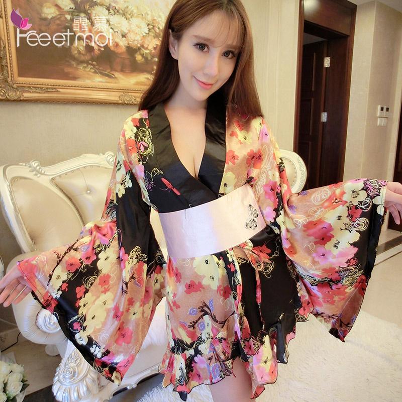 霏慕日式印花开襟和服制胜情趣睡衣套装