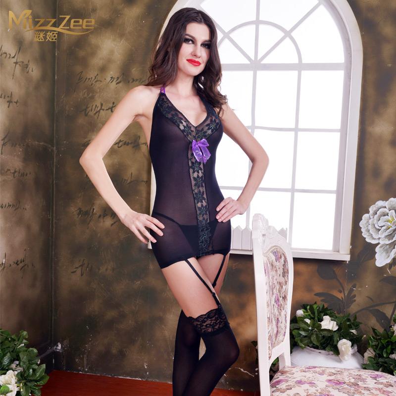 谜姬性感挂脖绑带女用情趣内衣包臀连身袜吊带袜