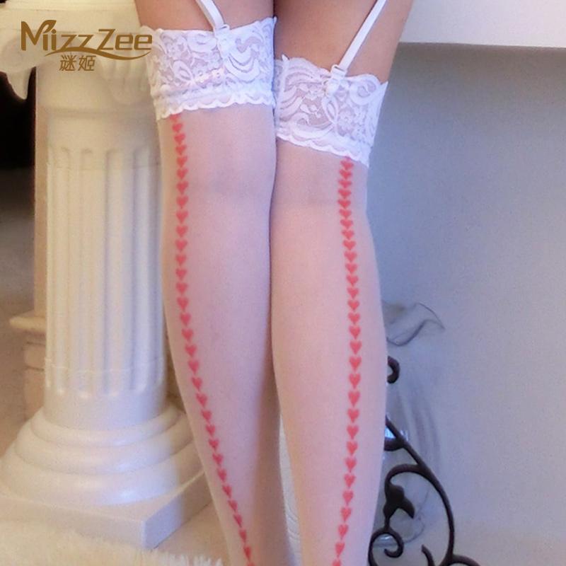 谜姬性感蕾丝花边桃心长筒袜