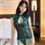 古典旗袍中国风 性感孔雀镂空刺绣旗袍睡衣套装 图片3