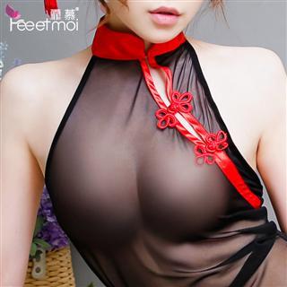 透明旗袍中国风 蕾丝透旗袍T裤制服诱惑长裙套装