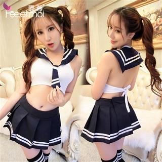 女学生制服诱惑套装 性感露背短裙短上衣学生装