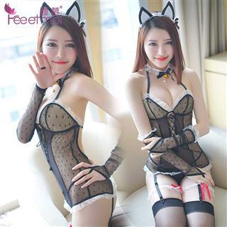 霏慕猫女制服诱惑情趣内衣 蕾丝透明性感内衣套装