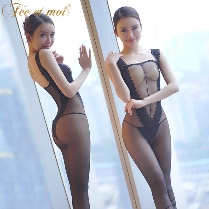性感透明露乳连身丝袜 骚女开裆免脱诱惑连体衣