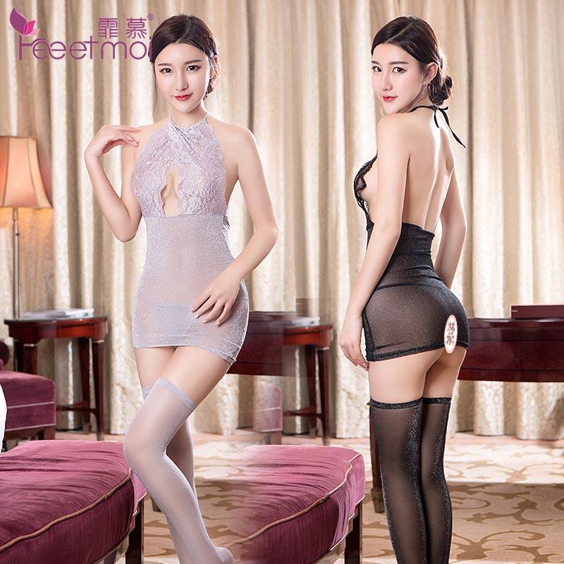 性感包臀睡裙 蕾丝露乳透明情趣超短裙 情趣内衣睡裙_黑色