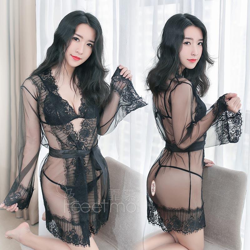 性感睡裙女夏 火辣情趣睡衣 蕾丝透明露乳_外罩衫+T裤
