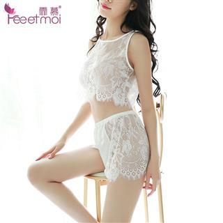霏慕蕾丝透明女士分体情趣睡衣性感诱惑夏套装_白色