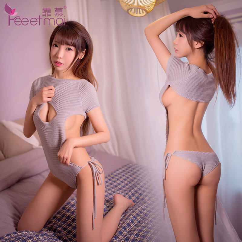 霏慕一字开胸露背T库丁字裤性感连体毛衣7907