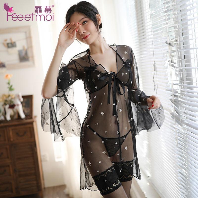 霏慕 繁星点点刺绣睡袍三点式 透明诱惑睡衣女套装7841