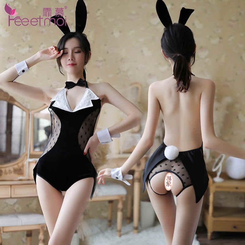 霏慕夫妻制服角色扮演绅士兔女郎套装7077 露背露臀开裆情趣裙装