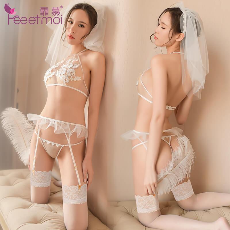 霏慕浪漫新娘套情趣内衣装7725 夜婚夜骚女性感透明诱惑