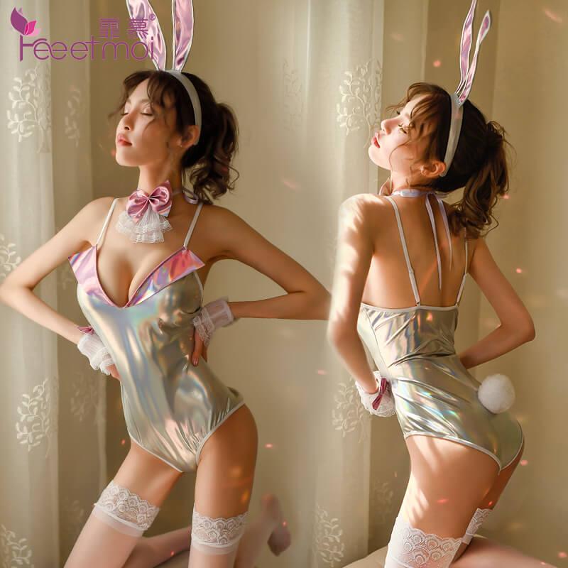 霏慕炫银可开档兔女套装6998 性感露乳诱惑情趣吊带睡裙