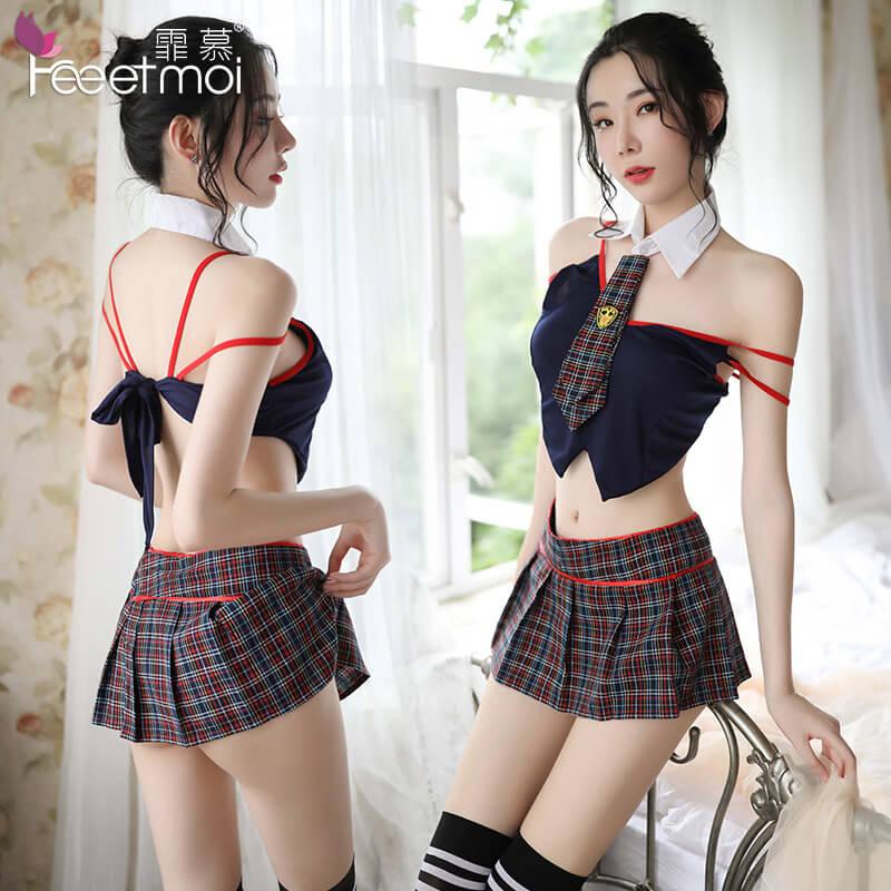 霏慕英伦格子学生制服诱惑套装 性感露背超短裙骚女6901