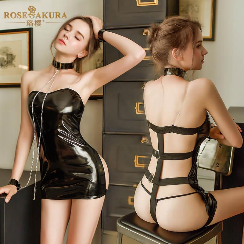 珞樱链条束缚露臀背漆皮套装 性感诱惑紧身夜店sm骚女情趣睡裙内衣