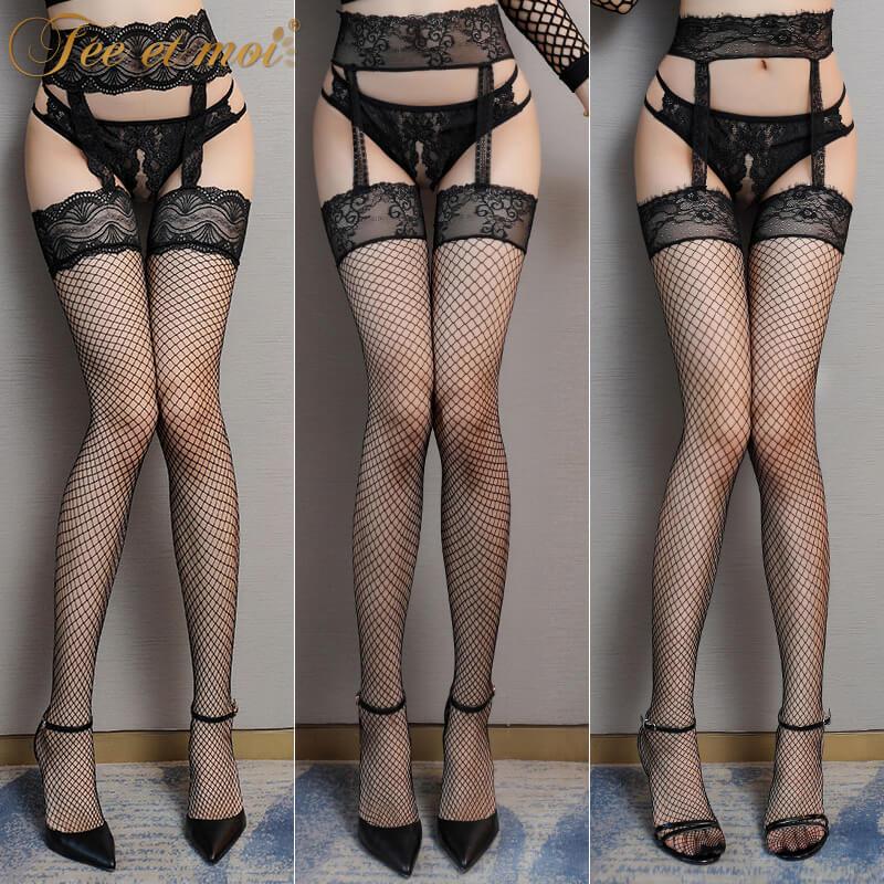 霏慕蕾丝边吊带一体连裤网袜 性感开裆免脱秘书诱惑情趣丝袜美腿