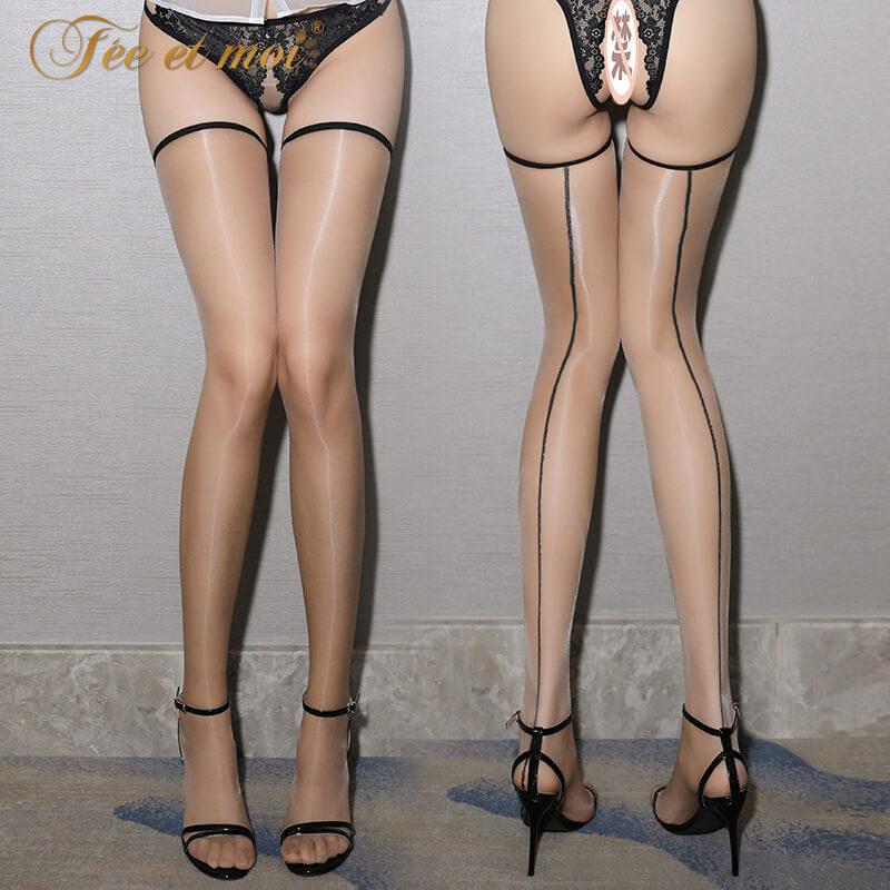 霏慕1D后线二代油亮长筒袜 日系瘦腿到大腿根火辣情趣恋足丝袜