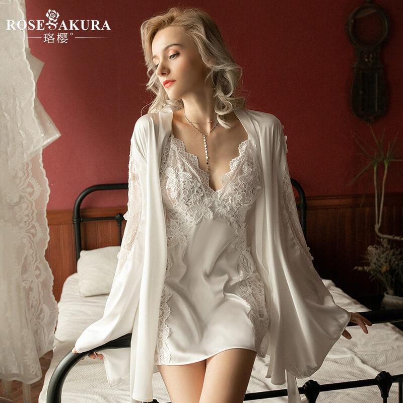 轻奢浪漫仿真丝睡裙 披肩女夏情趣半身激情性感露乳T裤绑带床上睡袍
