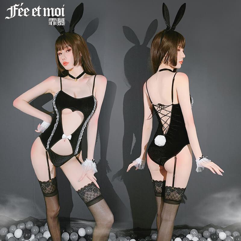 性感透视露半乳情趣睡衣  镂空兔女可开裆连吊带袜免脱挑逗连体衣