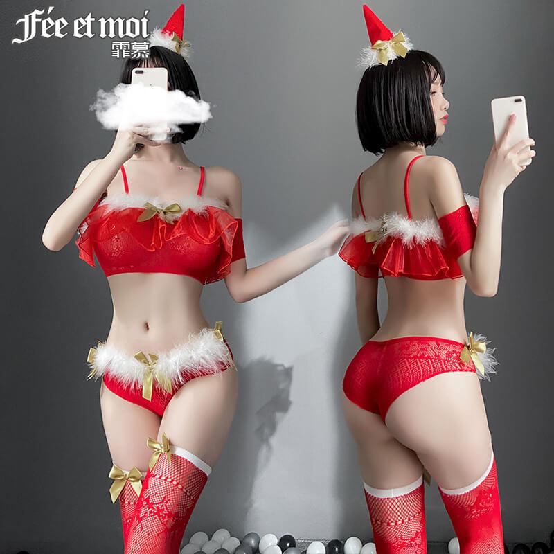 霏慕圣诞蓬蓬抹胸网衣套装 三点式激情性感诱惑制服诱惑角色扮演红色情趣内衣